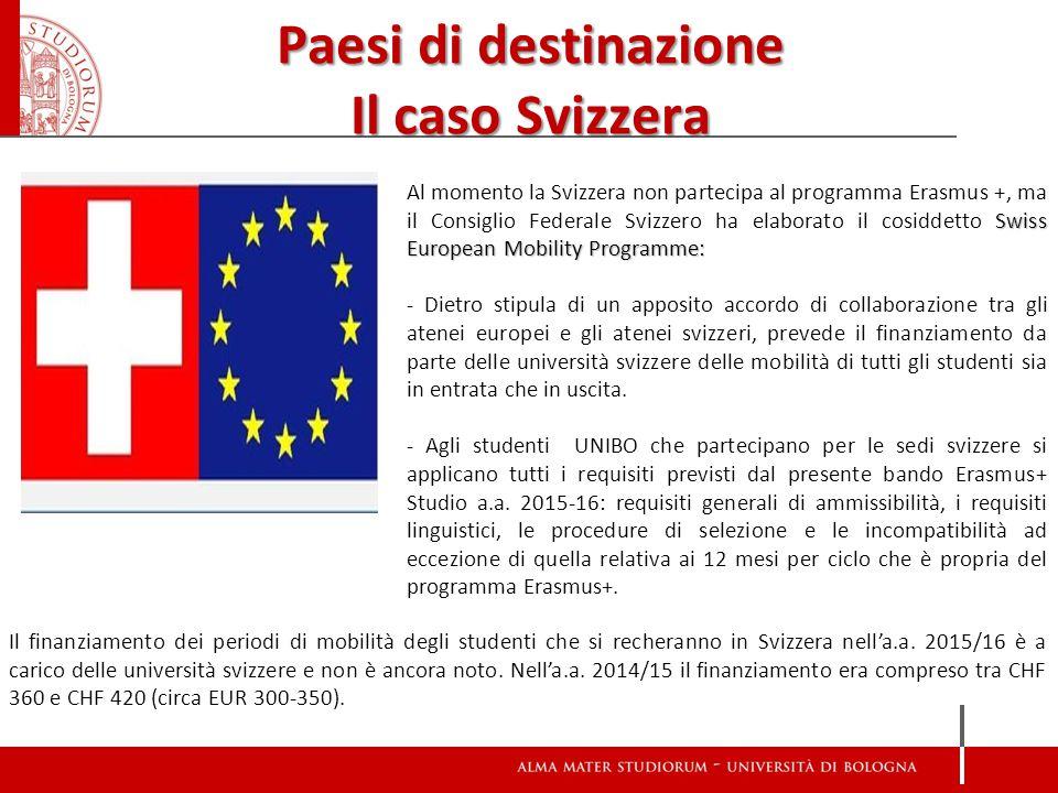 Paesi di destinazione Il caso Svizzera