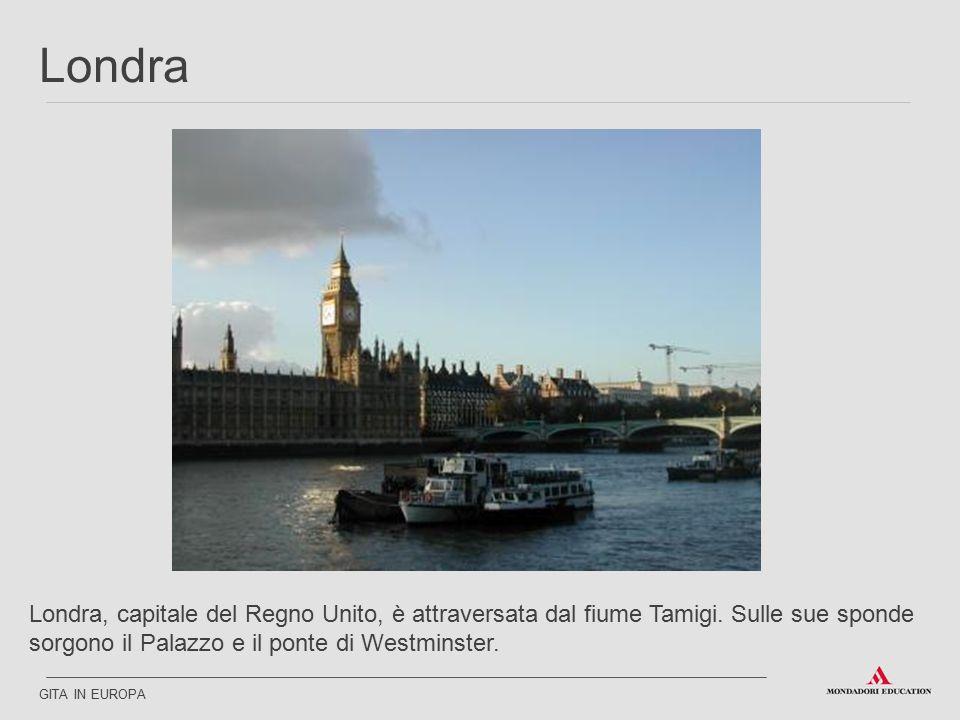 Londra Londra, capitale del Regno Unito, è attraversata dal fiume Tamigi. Sulle sue sponde sorgono il Palazzo e il ponte di Westminster.