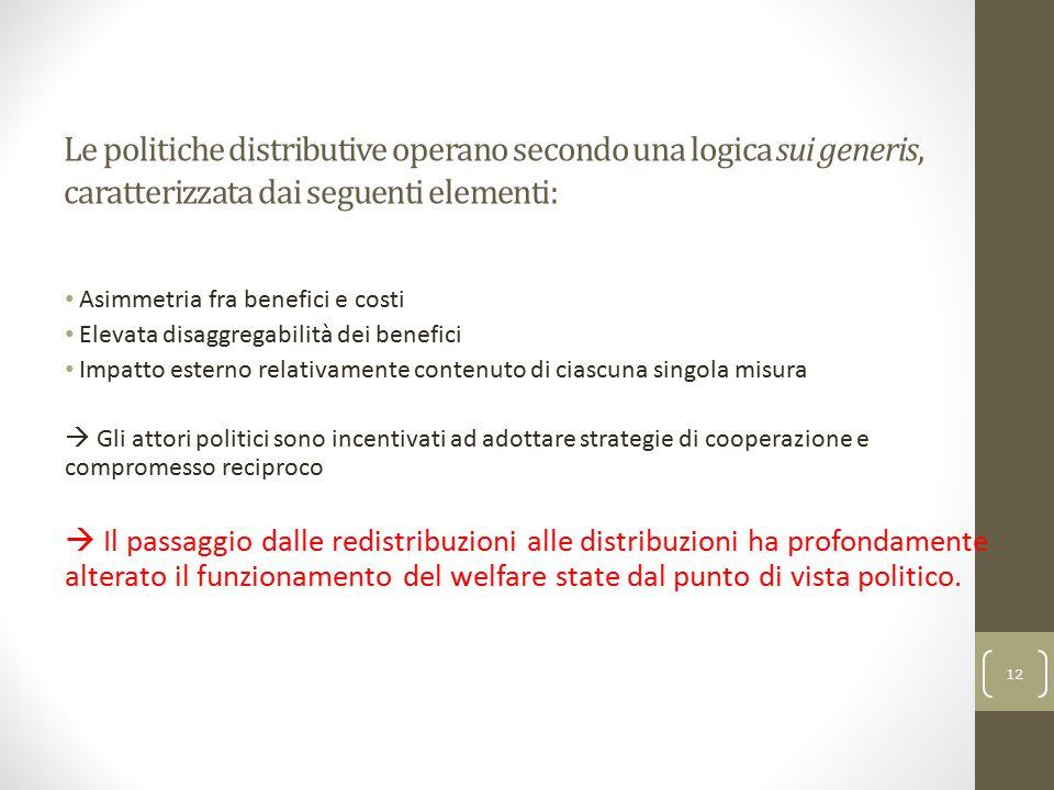 Le politiche distributive operano secondo una logica sui generis, caratterizzata dai seguenti elementi: