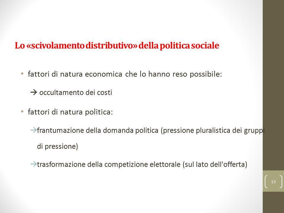 Lo «scivolamento distributivo» della politica sociale