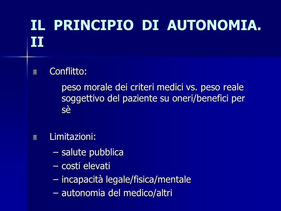 IL PRINCIPIO DI AUTONOMIA. II