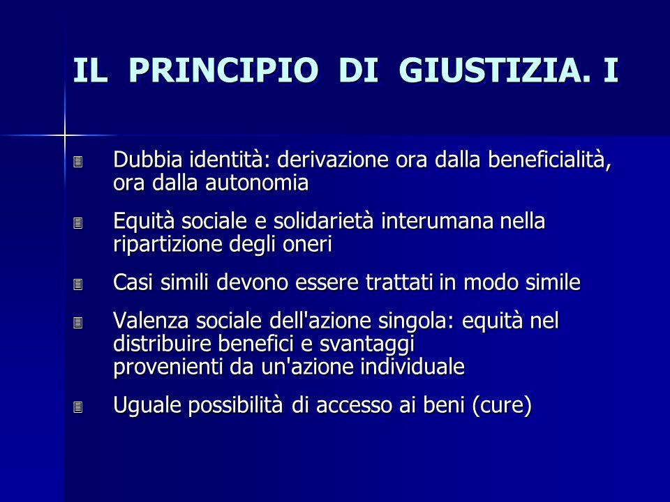 IL PRINCIPIO DI GIUSTIZIA. I