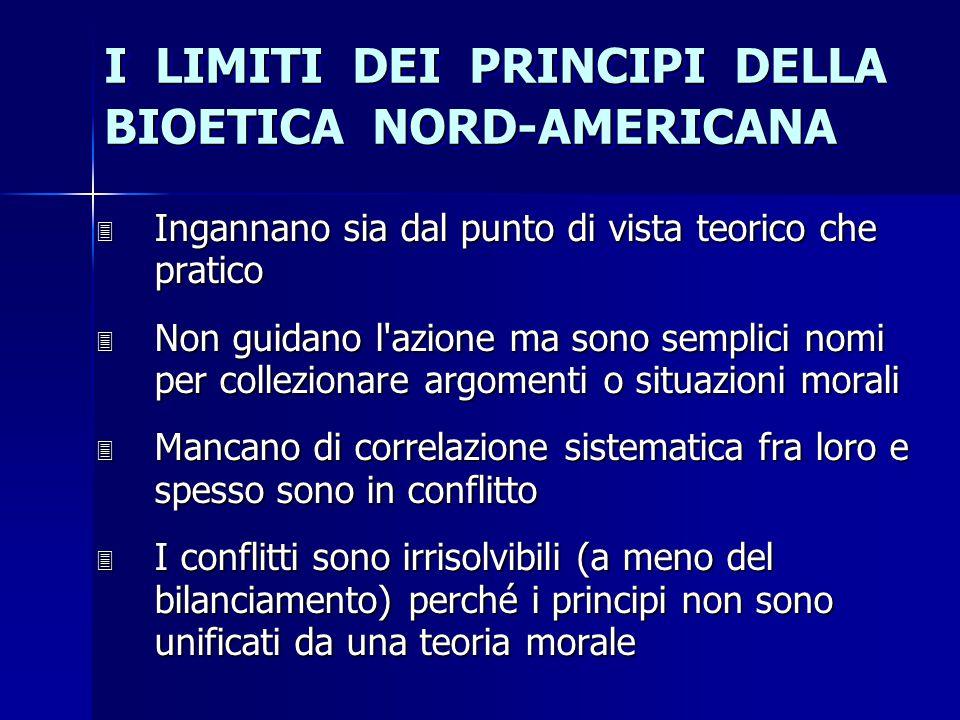 I LIMITI DEI PRINCIPI DELLA BIOETICA NORD-AMERICANA