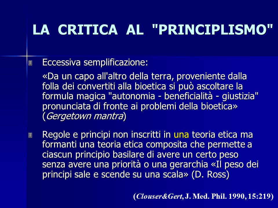 LA CRITICA AL PRINCIPLISMO