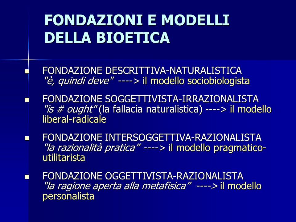 FONDAZIONI E MODELLI DELLA BIOETICA