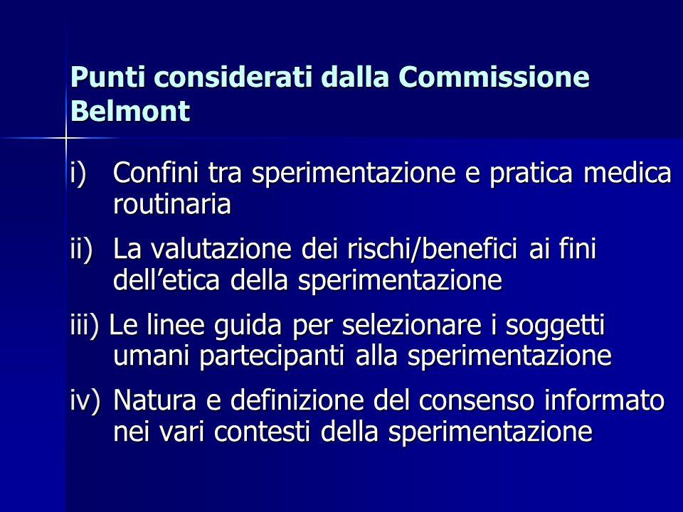 Punti considerati dalla Commissione Belmont