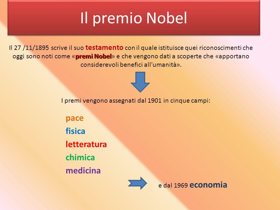 Il premio Nobel pace fisica letteratura chimica medicina