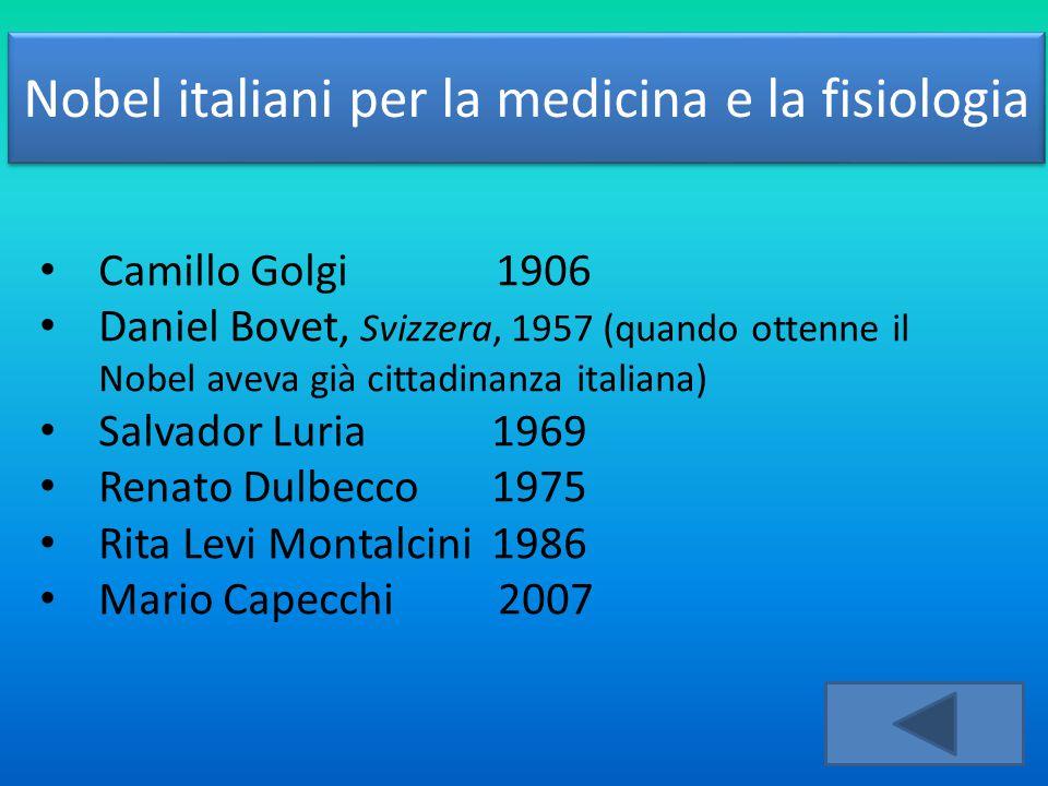 Nobel italiani per la medicina e la fisiologia