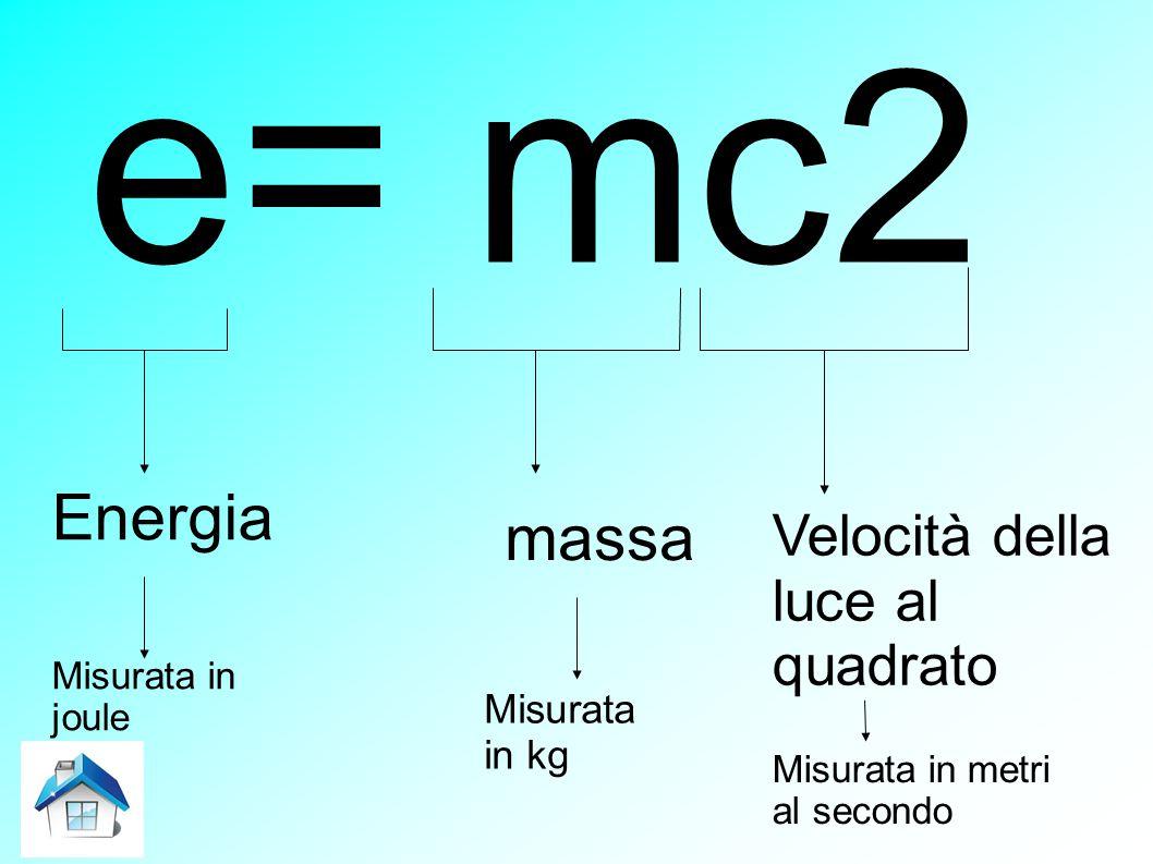 e= mc2 Energia massa Velocità della luce al quadrato Misurata in kg