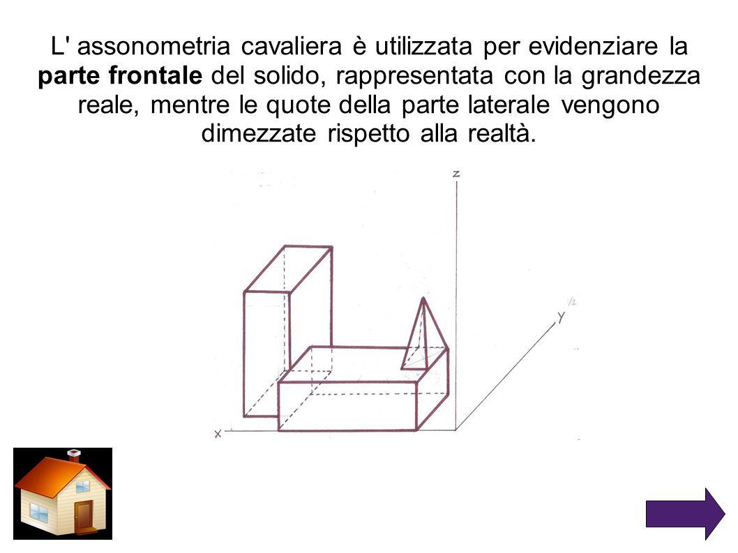 L assonometria cavaliera è utilizzata per evidenziare la parte frontale del solido, rappresentata con la grandezza reale, mentre le quote della parte laterale vengono dimezzate rispetto alla realtà.