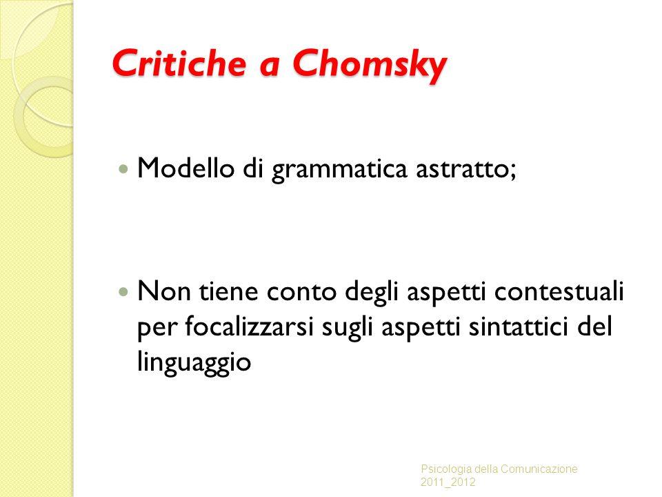 Critiche a Chomsky Modello di grammatica astratto;