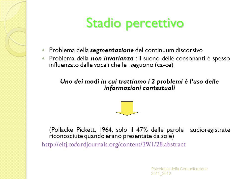 Stadio percettivo Problema della segmentazione del continuum discorsivo.