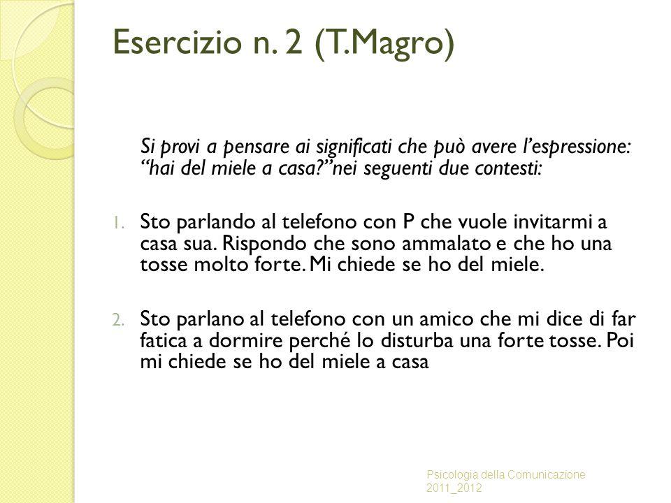 Esercizio n. 2 (T.Magro) Si provi a pensare ai significati che può avere l'espressione: hai del miele a casa nei seguenti due contesti: