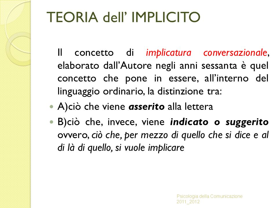 TEORIA dell' IMPLICITO