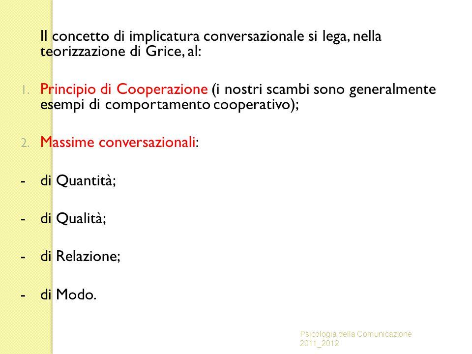 Massime conversazionali: - di Quantità; - di Qualità; - di Relazione;