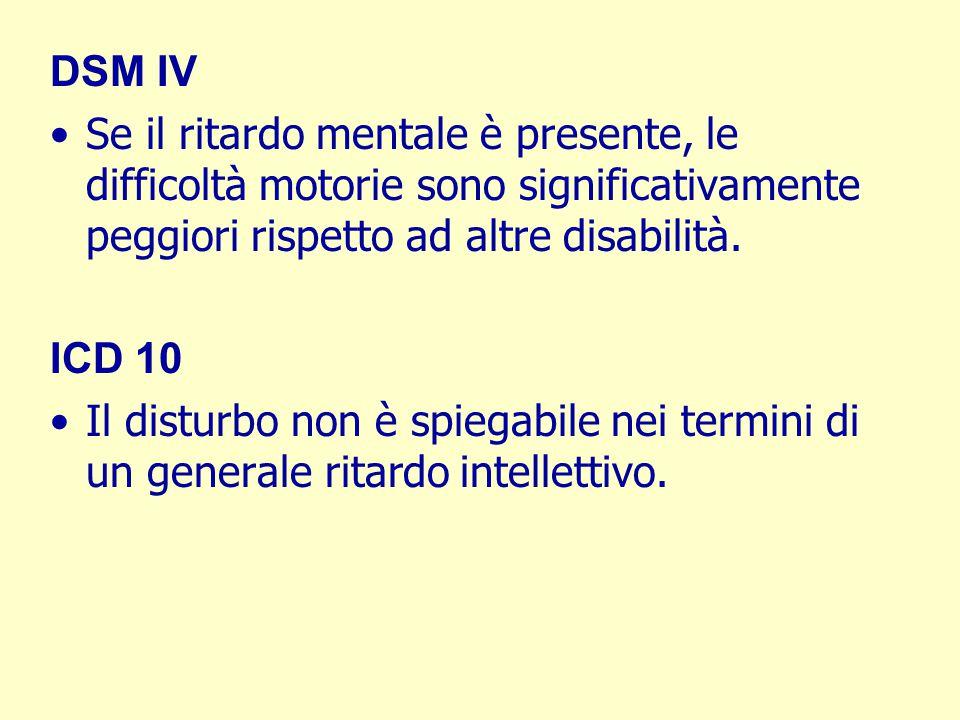 DSM IV Se il ritardo mentale è presente, le difficoltà motorie sono significativamente peggiori rispetto ad altre disabilità.