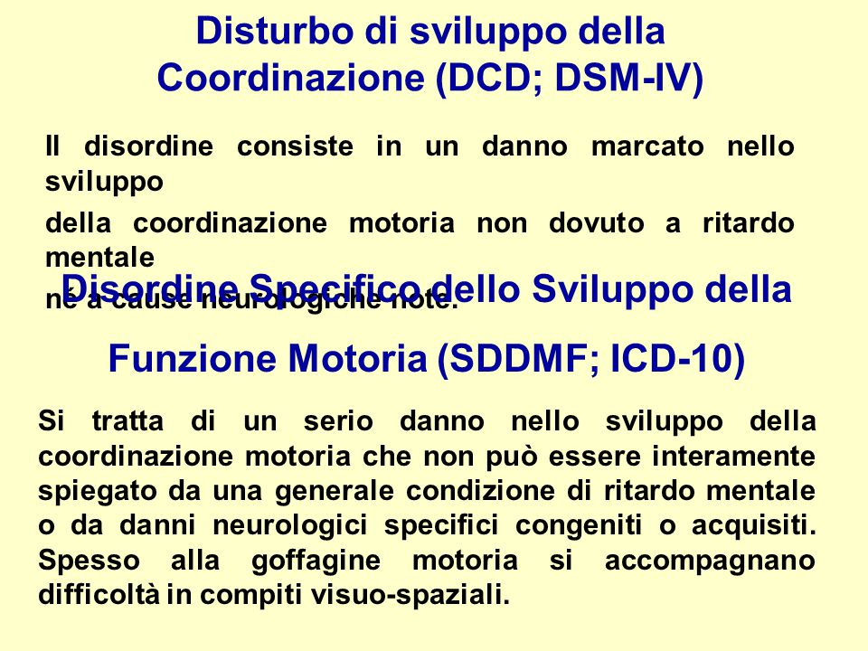 Disturbo di sviluppo della Coordinazione (DCD; DSM-IV)