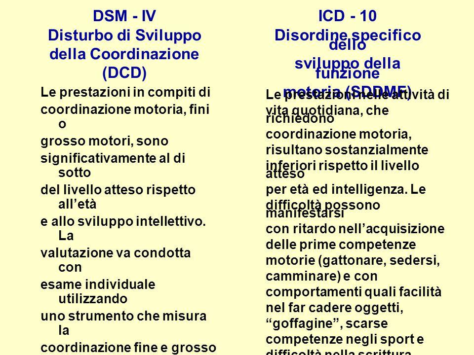 DSM - IV Disturbo di Sviluppo della Coordinazione (DCD)