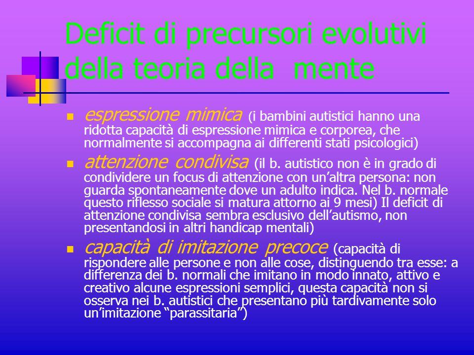 Deficit di precursori evolutivi della teoria della mente
