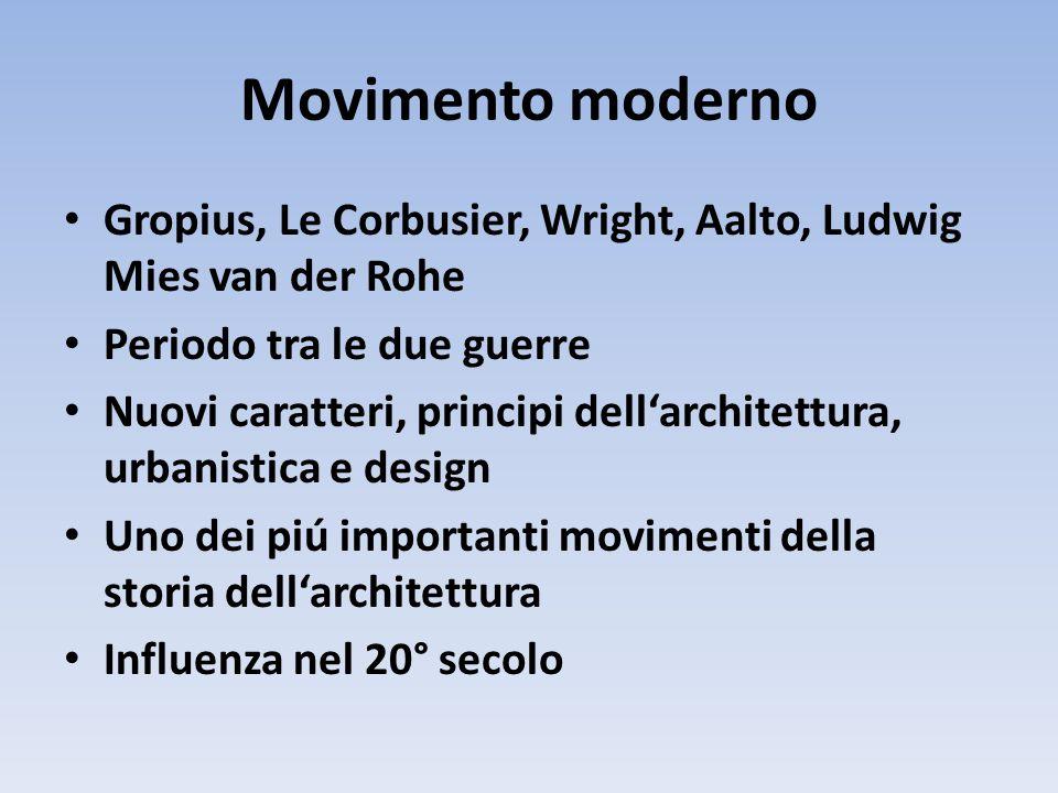 Movimento moderno Gropius, Le Corbusier, Wright, Aalto, Ludwig Mies van der Rohe. Periodo tra le due guerre.