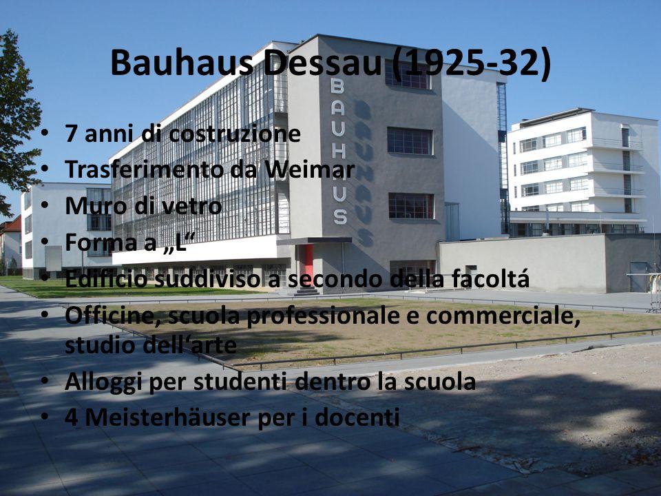 Bauhaus Dessau (1925-32) 7 anni di costruzione Trasferimento da Weimar