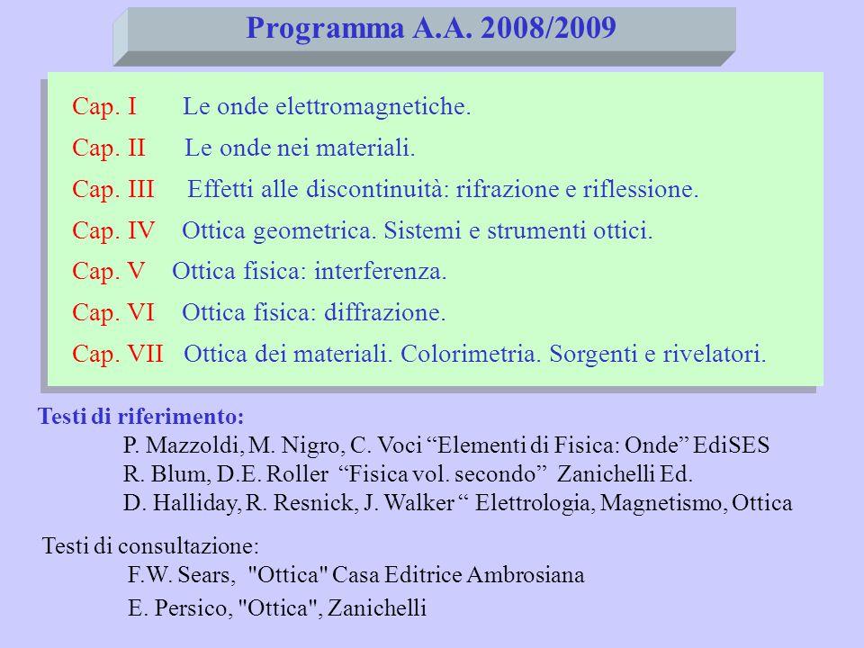 Programma A.A. 2008/2009 Cap. I Le onde elettromagnetiche.