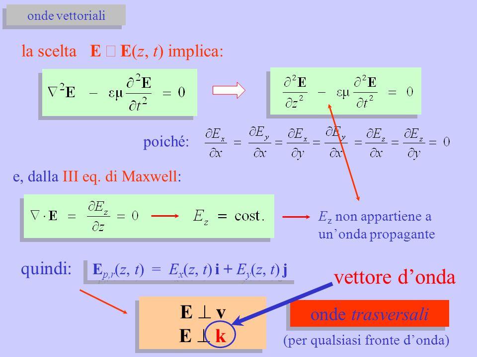 vettore d'onda E ^ v E ^ k quindi: onde trasversali
