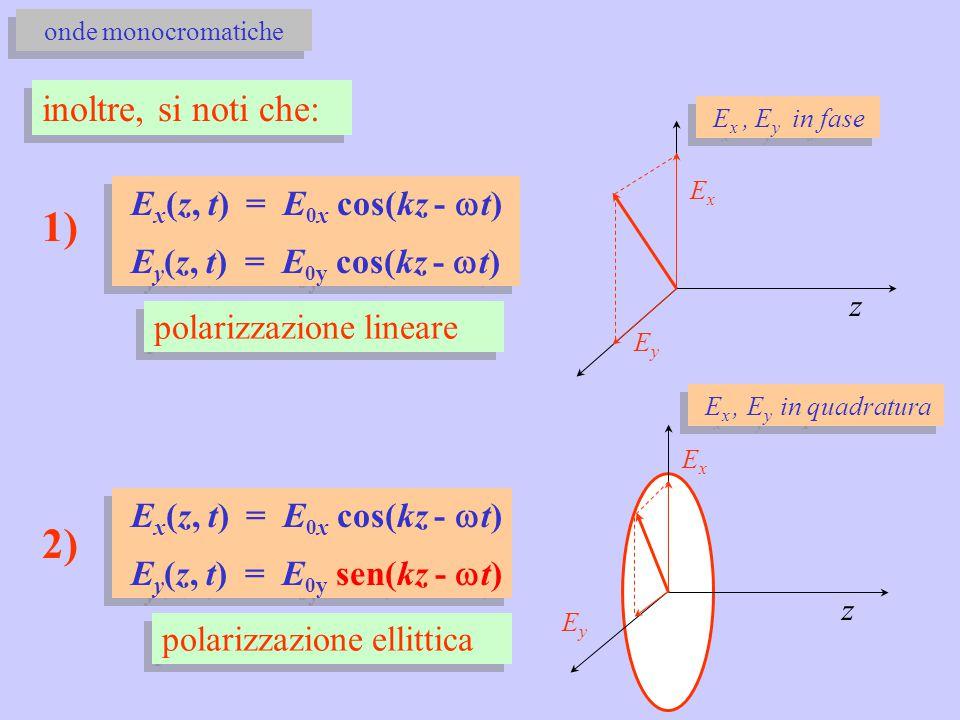 1) 2) inoltre, si noti che: Ex(z, t) = E0x cos(kz - wt)