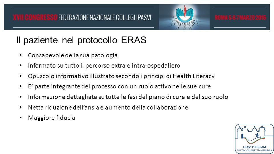Il paziente nel protocollo ERAS