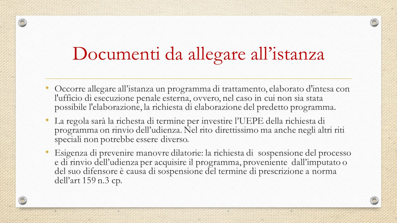 Documenti da allegare all'istanza
