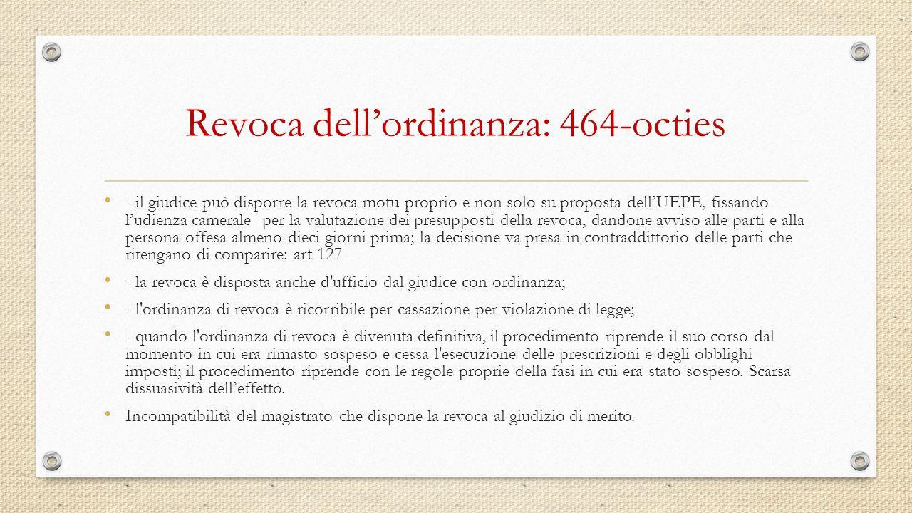 Revoca dell'ordinanza: 464-octies