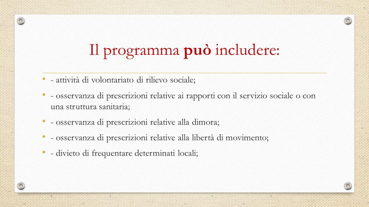 Il programma può includere: