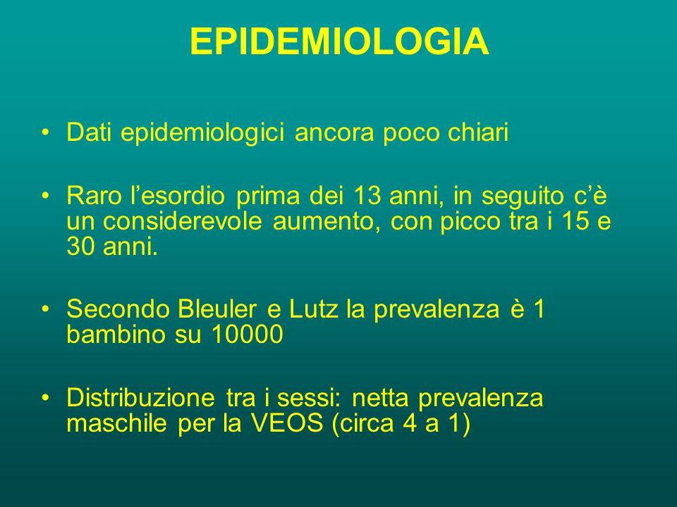 EPIDEMIOLOGIA Dati epidemiologici ancora poco chiari