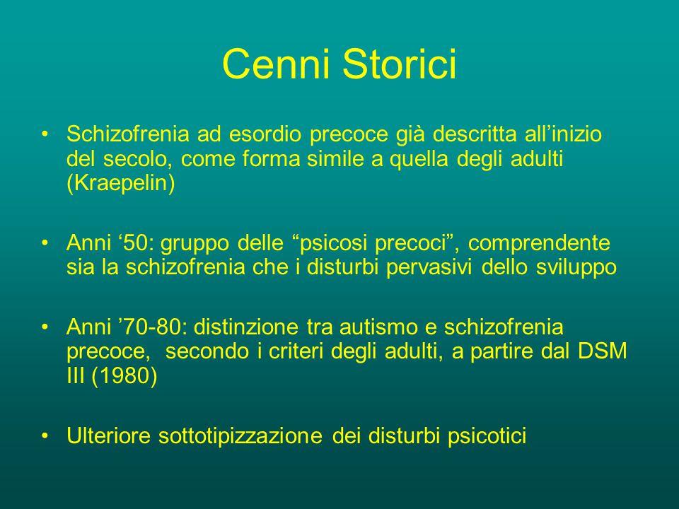 Cenni Storici Schizofrenia ad esordio precoce già descritta all'inizio del secolo, come forma simile a quella degli adulti (Kraepelin)