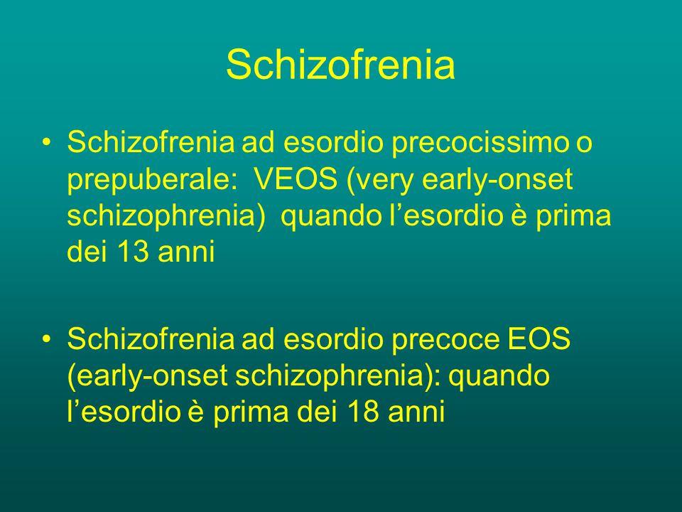 Schizofrenia Schizofrenia ad esordio precocissimo o prepuberale: VEOS (very early-onset schizophrenia) quando l'esordio è prima dei 13 anni.