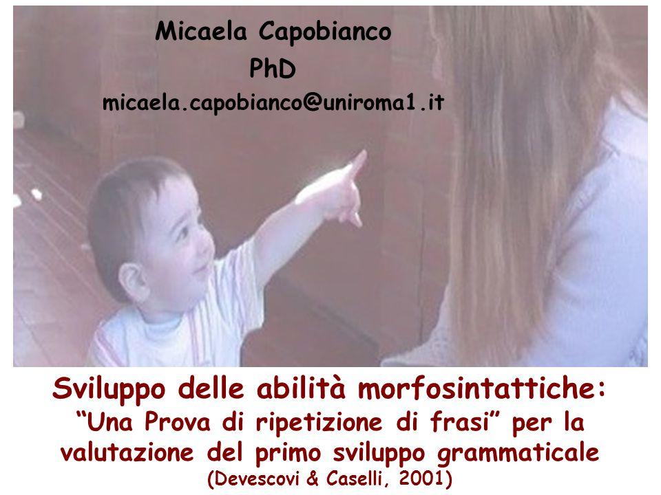 Sviluppo delle abilità morfosintattiche: