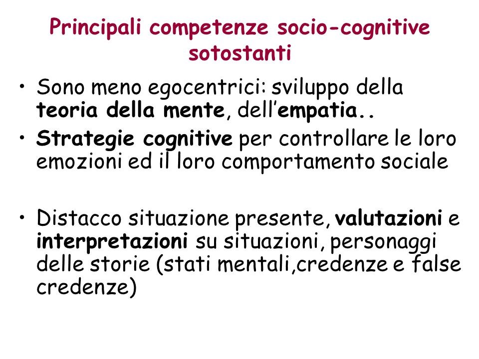 Principali competenze socio-cognitive sotostanti