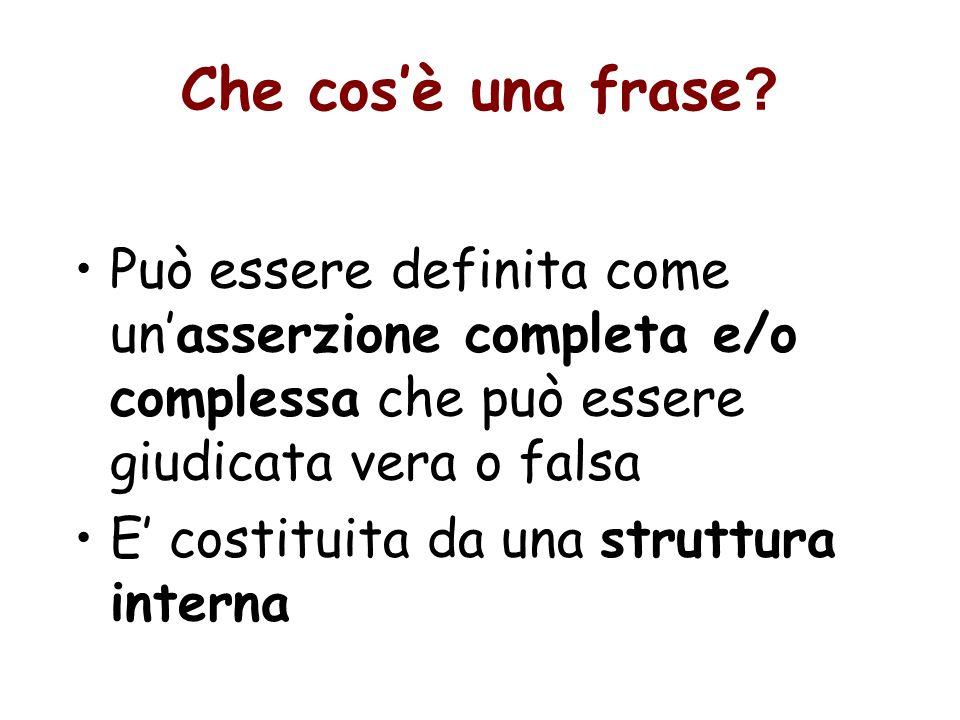 Che cos'è una frase Può essere definita come un'asserzione completa e/o complessa che può essere giudicata vera o falsa.