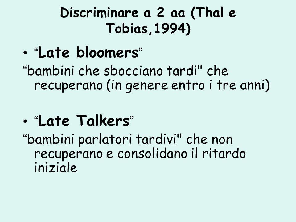 Discriminare a 2 aa (Thal e Tobias,1994)