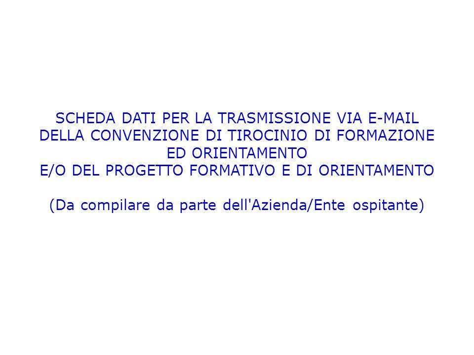 SCHEDA DATI PER LA TRASMISSIONE VIA E-MAIL