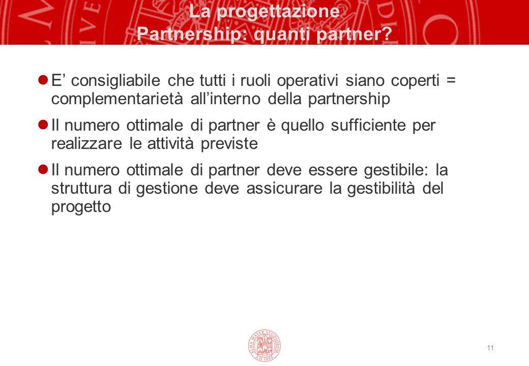 La progettazione Partnership: quanti partner