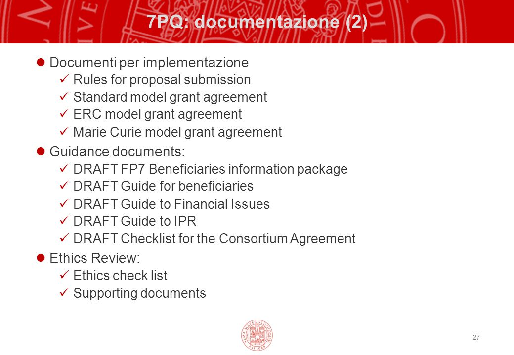 7PQ: documentazione (2) Documenti per implementazione