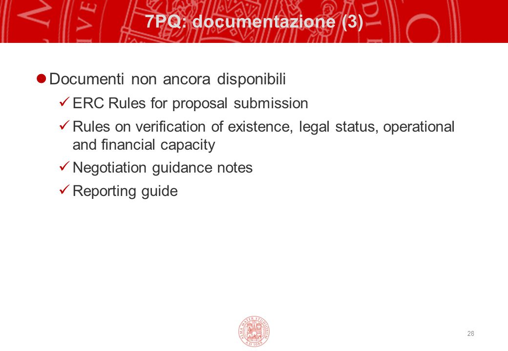7PQ: documentazione (3) Documenti non ancora disponibili