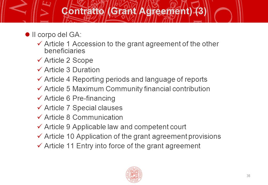 Contratto (Grant Agreement) (3)
