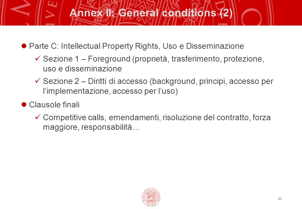 Annex II: General conditions (2)