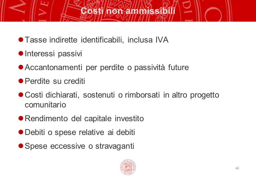 Costi non ammissibili Tasse indirette identificabili, inclusa IVA