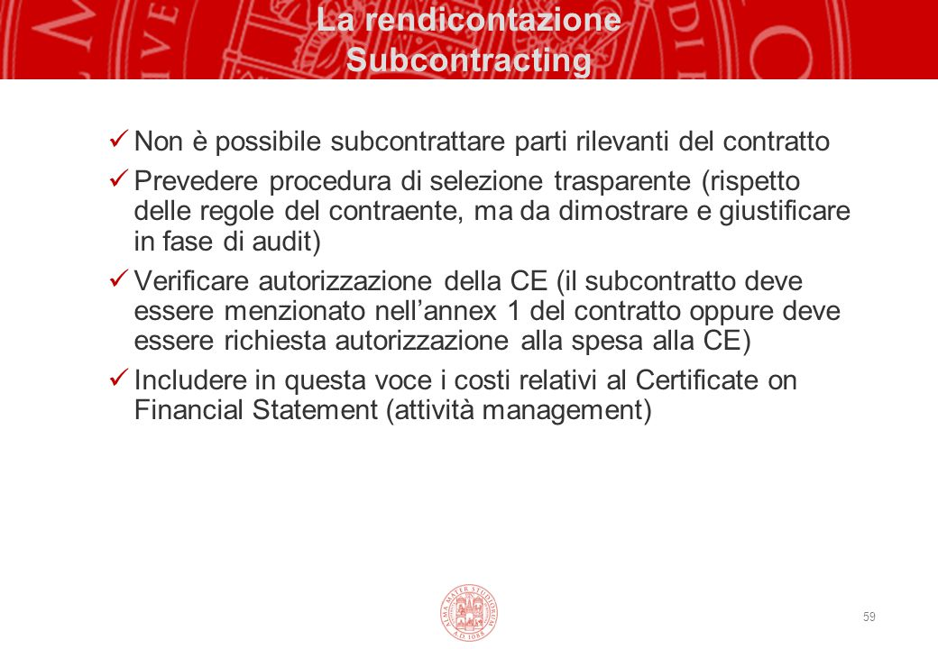 La rendicontazione Subcontracting