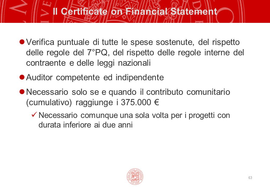 Il Certificate on Financial Statement