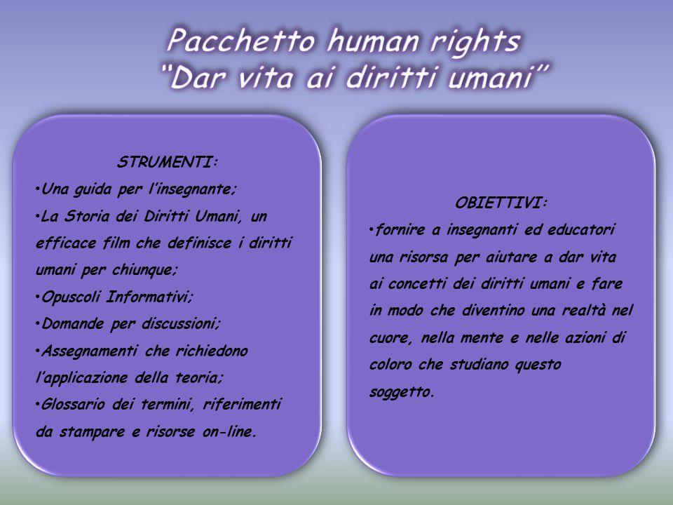 Pacchetto human rights Dar vita ai diritti umani