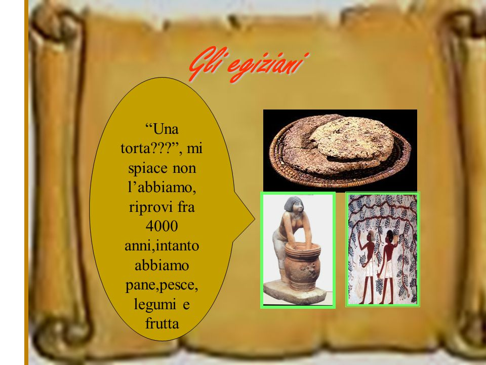 Gli egiziani Una torta , mi spiace non l'abbiamo, riprovi fra 4000 anni,intanto abbiamo pane,pesce,